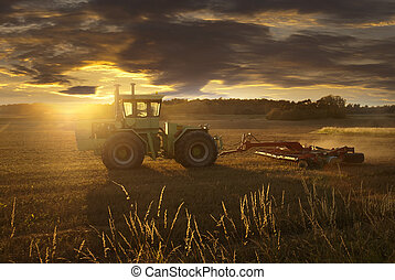 Tractor plowing a field at sunset in late summer