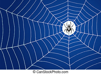 Spider and Net Illustration - Spider in the middle of white...