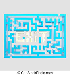 Exit sign icon as a labyrinth isolated
