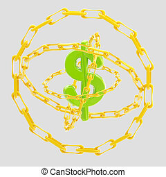 Dollar sign encircled with golden chains isolated - Green...