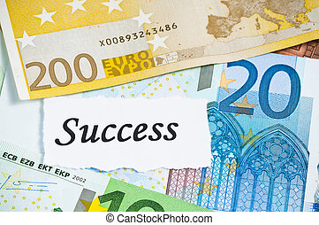 Success on finance concept with euro notes