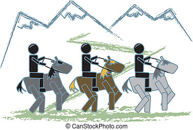 Stick Figures Trail Riding - simple drawing of stick figures...