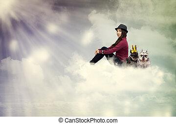 狗, 婦女, 年輕, 雲, 坐