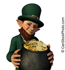 Leprechan Holding a Pot of Gold - A lucky leprechaun has...