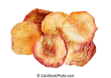 Dehydrated Red Peaches isolated on white