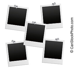 vector photo frames with pushpin - EPS 10