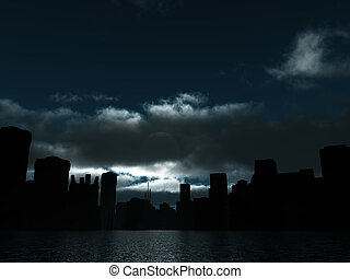dark city is lighted moonlight and water surface