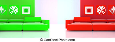 interior in red and green tones with a sofas and ornaments on wall
