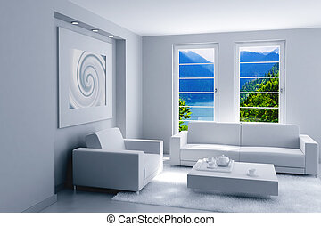 interior of light modern room with a beautiful landscape after a window