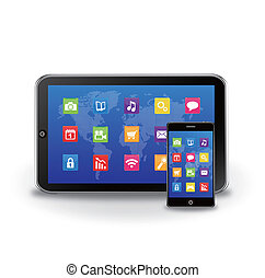 tablet PC and touchscreen smartphon - EPS 10