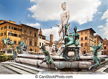 The fountain of Neptune, Florence, Italy - The fountain of...