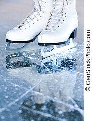 retrato, versión, mujer, hielo, patines,...