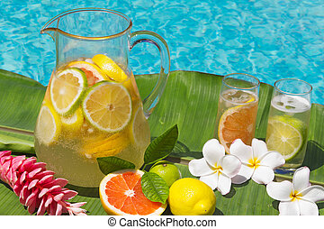 Lemonade by swimming pool side - Two glasses and Jug of home...