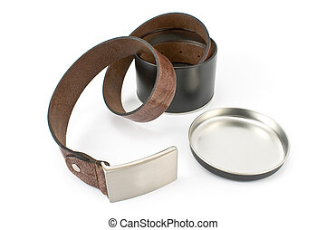 Womens leather belt in aluminum box isolated on white