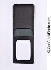 Blank pass in case on white background