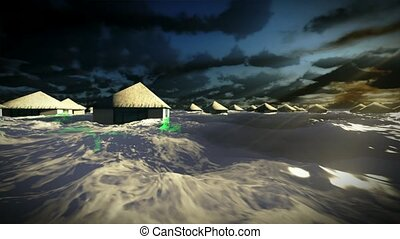 Tsunami destroying tropical resort - bungalows flooded by...