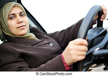muçulmano, meio, oriental, femininas, motorista