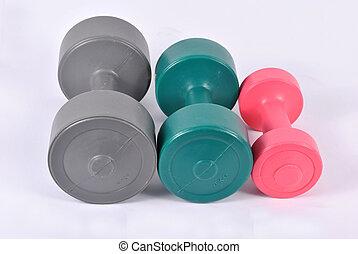 Dumb-bells - Three different-one-kilogramme dumb-bells