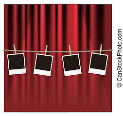 photo frames on a red curtain - EPS 10
