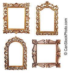 Gold picture frames - Oval and rectangular gold picture...