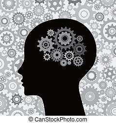 cabeça, cérebro, Engrenagens, fundo