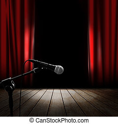 Musical stage - Musical background with red curtain