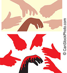 racism - human hands - violence and intolerance towards...