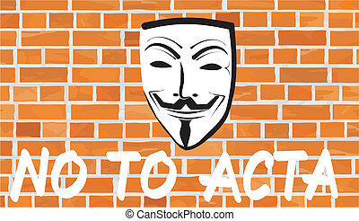 no to acta - writing on the wall - a protest against the...