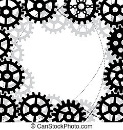 gears frame - vector frame with gears and chains in black...