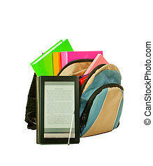 Electronic book with books in backpack isolated on white...