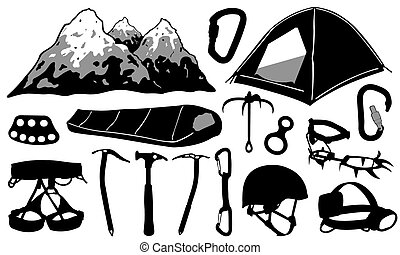 climbing equipment set isolated