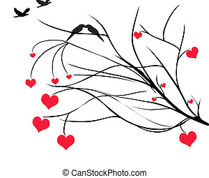 Hearts on Tree Branch