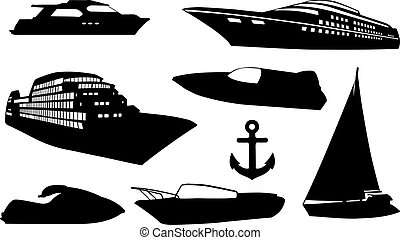 boats - set of different boats isolated