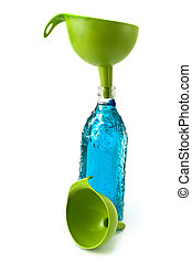 Bottle of water and funnel isolated on white