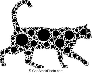 cat - black dotted cat isolated