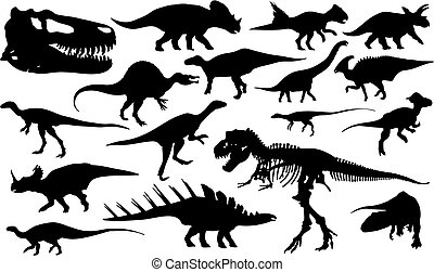dinosaurs - dinosaur silhouettes isolated