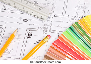 Architectural background - Pencils, scale ruler and colors...