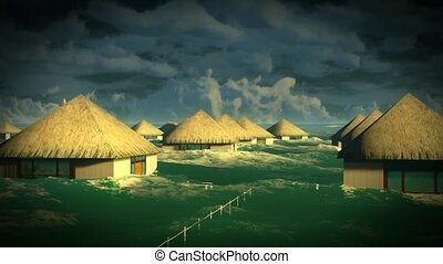 Tsunami devastating bungalows
