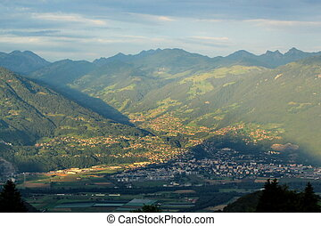 Alps and valley, Vaud, Switzerland - View on the Alps and...