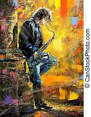 a, jovem, sujeito, tocando, saxofone