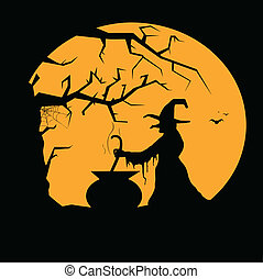 Halloween illustration with witch and full moon