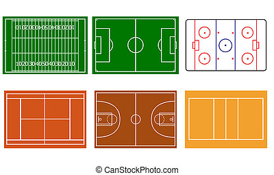 sport fields set isolated