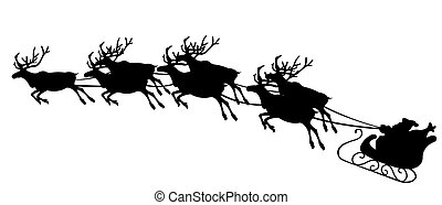 Santa`s sled with reindeer