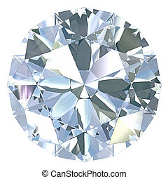 Round, old european cut diamond, isolated on white...