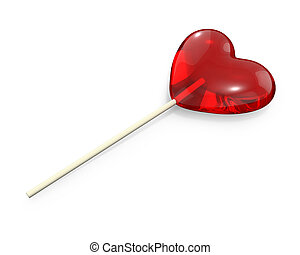 Heart shaped lollipop, isolated on white background