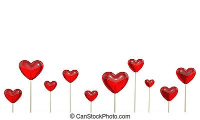 A lot of heart shaped lollipops