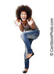Woman in Panic - Horrified young woman in panic yelling,...