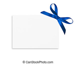 Gift Card - Gift card tied with a bow of blue satin ribbon...
