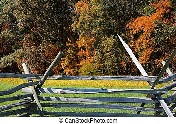 gettysburg fence in the autumn