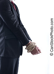 Business man with rope - Business man pulling and bond tied...